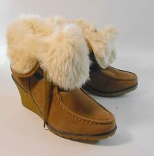 """brown  3"""" high wedge heel  round toe  top off white  fur ankle boot. size   7"""