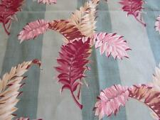 Vtg 1940s Upholstery Drapery Fabric 15 yds FERN LEAVES Striped Turquoise & Pinks