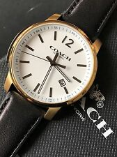 Coach Men's Bleecker Black Leather Gold Tone White Dial Date Watch NWT 14602055