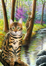 ACEO original Bengal cat spring forest stream sunlight landscape painting art