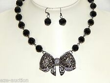 BLACK ONYX CRYSTALS W. SILVER RHINESTONE BOW NECKLACE & EARRINGS SET