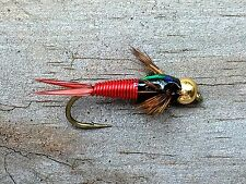 Fly Fishing Flies (Bass, Bream, Trout, Salmon) Copper John Gold Bead Red (6)
