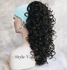 Brown Black Ponytail Hairpiece Long Curly Claw CLIP in on Hair Piece Extension #