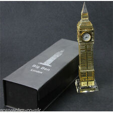 London UK Souvenirs British Big Ben Clock Metalic Gold Crystal Multi Lights Lrge