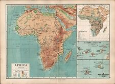 1895 VICTORIAN MAP ~ AFRICA PHYSICAL ~ LANGUAGES CANARY ISLANDS LAND HEIGHTS