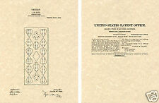 1st US PATENT for the CRIBBAGE BOARD Art Print READY TO FRAME!!!! card peg game