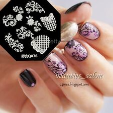 1Pc Grid Lace Flower Vine Nail Art Stamp Template Image Stamping Plate QA76