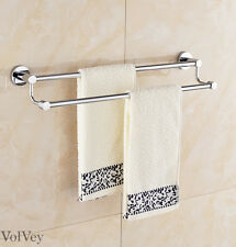Towel Rack Stainless Steel Two Bars Chrome Finish Hardware Bathroom Accessory