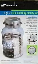 Emerson Digital Coin-Counting Money Jars, Case of 8 Banks