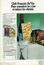 Publicité advertising 1976 Le Club Francais du Vin