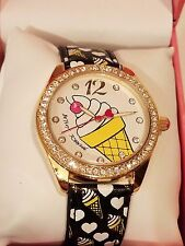 NEW BETSEY JOHNSON Ice Cream Cone Boyfriend WATCH Gold Tone Crystals BJ00048-153