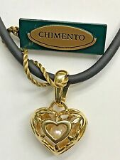 "NWT Chimento Jewelry 18K Yellow Gold Pearl Heart Charm Pendant ""Ti Amo"" Necklace"