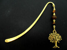 A GOLD COLOUR TREE OF LIFE CHARM TIGERS EYE BEADS BOOKMARK. NEW.