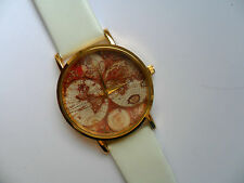 Unusual World Map // Globe Gold Faced Quartz Watch White Strap