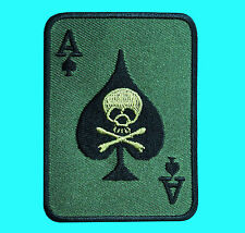 ACE OF SPADES SKULL CARDS Poker Skeleton Biker Embroidered Iron On Patch Death