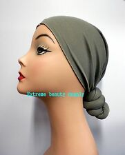 Gray fashion Knotted Head warmer Stretch Wrap Turban Head  SKULL CAP