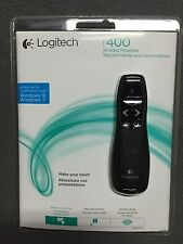 New  Logitech R400 Wireless Presenter w/Laser Pointer Case Receiver PPT Pen