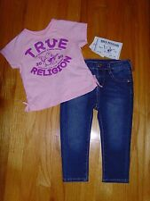 NEW TRUE RELIGION BABY GIRLS OUTFIT 2PC GIFT SET JEANS & TEE T-SHIRT SIZE 24 M