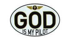 Magnetic Bumper Sticker - God Is My Pilot - Oval Shaped Religious Magnet