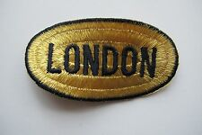 #2432 Gold,Black LONDON word Badge Embroidery Applique Patch