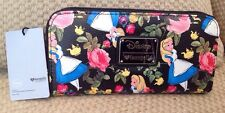 NWT DISNEY LOUNGEFLY ALICE IN WONDERLAND TEA PARTY WALLET ROSES ZIP AROUND BLACK