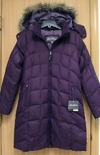 NEW Eddie Bauer Classic Womens Long Hooded Down Parka Jacket S Plum Purple