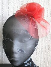 red flower fascinator millinery  brooch clip wedding hat bridal ascot race
