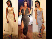 Womens Summer Low V Neck Sexy Side Split Ladies Cocktail UK Maxi Prom Gown Dress