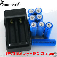8x 2000mAh 14500 Rechargeable Li-ion Battery For LED Flashlight+CR123A Charger