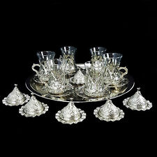 Ottoman Turkish Silver Brass Tea Coffee Saucers Cups Tray Set - UK SELLER
