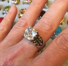 """NEW """"designer inspired"""" Round Clear CZ Ring w 2 tone antique detail size 9"""