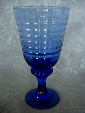 "Vintage LIBBEY / ROCK SHARPE Sirrus Cobalt Blue 7 1/4"" Water / Iced Tea Goblet"