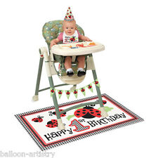 4 Piece LOVELY LADYBUGS Happy 1st Birthday Party High Chair Decorating Kit Pack