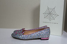 sz 7.5 / 37.5 Charlotte Olympia Silver Glitter Kitty Flat Cat Face Slip on Shoes