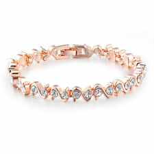 Women Noble Jewellery 18ct 18K Rose Gold Plated S Type Austrian Crystal Bracelet