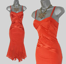 Karen Millen Exquisite Orange Silk Spaghetti Straps Cocktail Evening Dress  UK10