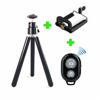 Camera Tripod Handle Stand + Holder Bluetooth Remote Mobile Phone iPhone - Black
