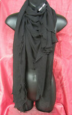 Adrienne Landau New Black 3 Layer Scarf Stole Chal Wrap Silk USA