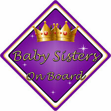Non Personalised Child/Baby On Board Car Sign ~ Baby Sisters On Board ~ Purple