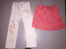 BABY GAP GIRLS CHASING SPRING SCALLOP SHIRT & WHITE JEANS OUTFIT SIZE 4 4T