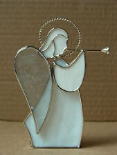 METAL AND WHITE GLASS PANEL ANGEL PLAYING MUSICAL INSTRUMENT FIGURINE