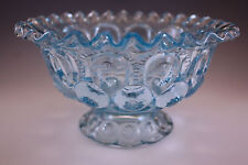 FENTON GLASS? MOON AND STARS ICE BLUE, ELECTRIC BLUE RUFFLED FOOTED BOWL
