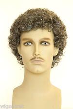 Dark Brown with 50% Grey Grey Curly Men Wig