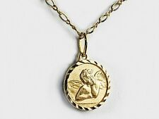 Angel medal about a dime coin size real 14k gold filled 18 inches chain necklace