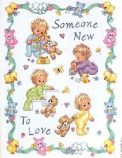 "Dimensions Stamped Cross Stitch kit 34"" x 43"" SOMEONE NEW BABY QUILT Sale #72963"