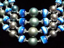 "vintage blue Cat's eye + gray faux pearl bead 16 to 19"" long 4 strand necklace"