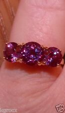 14 KT 3.75 CTW GENUINE  COLOR CHANGE LAB CREATED RUSSIAN 3 STONE ALEXANDRITE 8