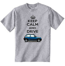 RENAULT 5 KEEP CALM AND DRIVE - NEW COTTON GREY TSHIRT - ALL SIZES IN STOCK