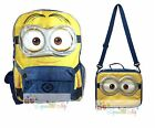 """New Minions Bob 16"""" Large School Backpack Lunch Book Bag Set"""