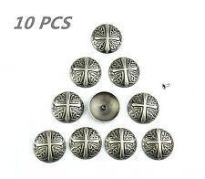 Lemo 10pcs Western ancient silver cross Texas Star Saddle Conchos TO187